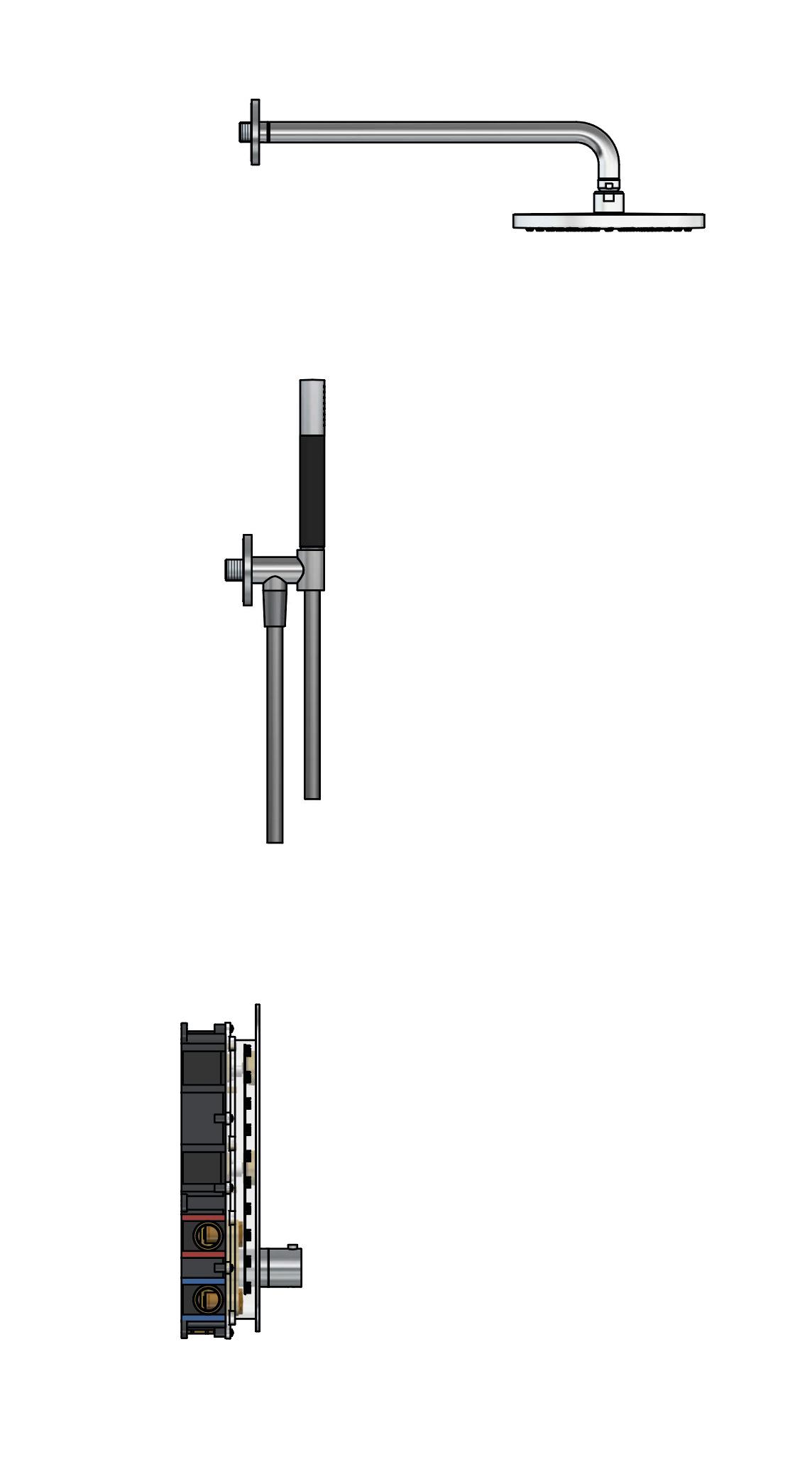 Hotbath Cobber Complete Thermostatische Douche Inbouwset Geborsteld Nikkel IBS24