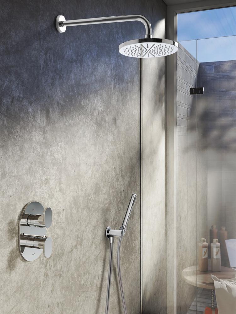 Productafbeelding van Hotbath Get Together IBS5AGN inbouwdouche met 15cm plafondbuis, 30cm hoofddouche en glijstang geborsteld nikkel