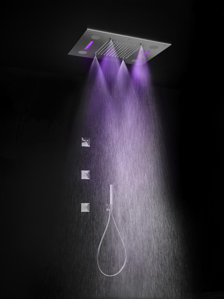 Hotbath Mate M192 inbouw hoofddouche met LED, spray en Bluetooth 48x63cm chroom
