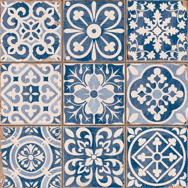Vloertegel vintage Faenza-A (Blauw) 33×33