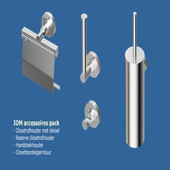 Ideal Standard Iom toiletaccessoires set m. handdoekhaak, closetrolhouder m. deksel m. closetborstel