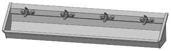 Intersan Sanilav muurwastrog m. 1-greeps mengkraan 240cm 4-personen RVS
