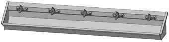 Intersan Sanilav muurwastrog m. 1-greeps mengkraan 300cm 5-personen RVS