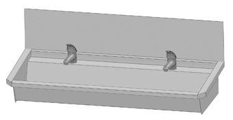 Intersan Sanilav muurwastrog m. 1-greeps wastafelkraan 120cm 2-personen RVS