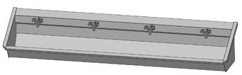 Intersan Sanilav muurwastrog m. 2-greeps mengkraan 240cm 4-personen RVS