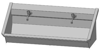 Intersan Sanilav muurwastrog m. muurkraan m. 1/2 draaiknop boven 120cm 2-personen RVS