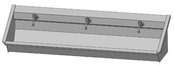 Intersan Sanilav muurwastrog m. muurkraan m. 1/2 draaiknop boven 180cm 3-personen RVS