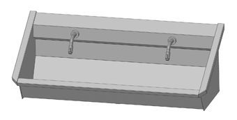 Intersan Sanilav muurwastrog m. muurkraan m. 1/4 draaiknop aan uitloop 120cm 2-personen RVS