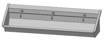 Intersan Sanilav muurwastrog m. muurkraan m. 1/4 draaiknop aan uitloop 180cm 3-personen RVS