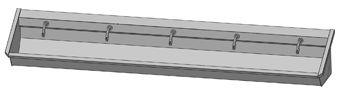 Intersan Sanilav muurwastrog m. muurkraan m. 1/4 draaiknop aan uitloop 300cm 5-personen RVS