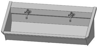 Intersan Sanilav muurwastrog m. muurkraan m. 1/4 draaiknop m. verlengde hendel 120cm 2-personen RVS
