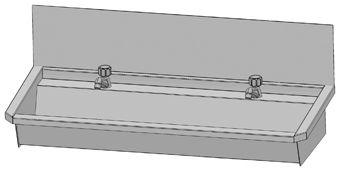 Intersan Sanilav muurwastrog m. wastafelkraan m. 1/4 draaiknop m. verlengde uitloop 120cm 2-personen