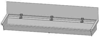 Intersan Sanilav muurwastrog m. wastafelkraan m. 1/4 draaiknop m. verlengde uitloop 180cm 3-personen