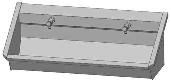 Intersan Sanilav muurwastrog m. zelfsluitende muurkraan 120cm 2-personen RVS