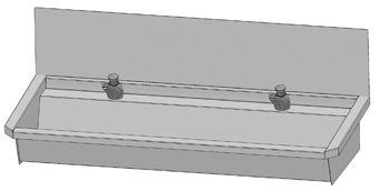 Intersan Sanilav muurwastrog m. zelfsluitende wastafelkraan 120cm 2-personen RVS