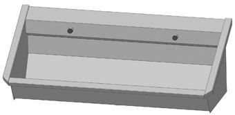 Intersan Sanilav muurwastrog z. kraan (m. 1 leiding) 120cm 2-personen RVS