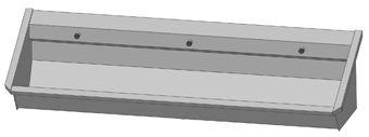Intersan Sanilav muurwastrog z. kraan (m. 1 leiding) 180cm 3-personen RVS