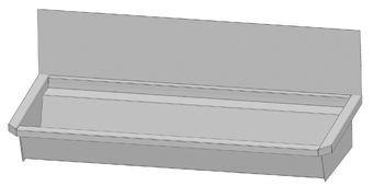 Intersan Sanilav muurwastrog z. kraan (z. leiding) 120cm 2-personen RVS