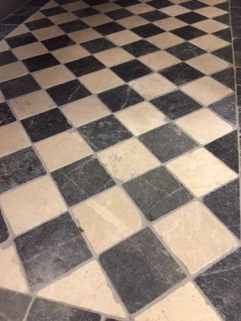Jabo Dambord vloertegel beige marmer en Turks hardsteen anticato 10x10x1