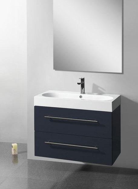 Lambini Designs Compact Line badkamermeubel hoogglans antraciet 100cm, 1 kraangat