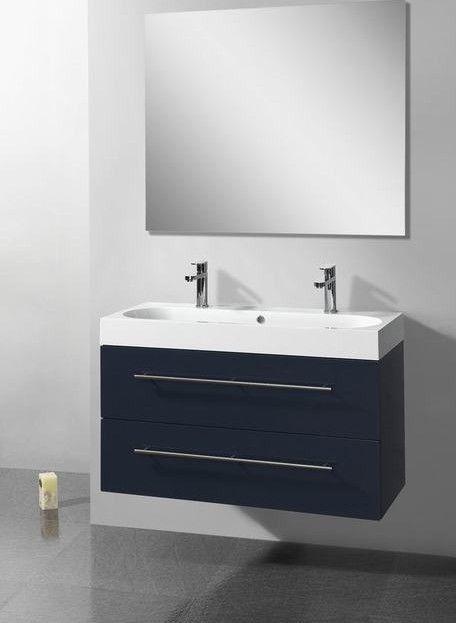 Lambini Designs Compact Line badkamermeubel hoogglans antraciet 100cm, 2 kraangaten