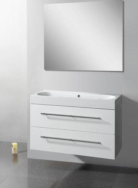 Lambini Designs Compact Line badkamermeubel hoogglans wit 100cm, 0 kraangaten
