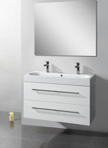 Lambini Designs Compact Line badkamermeubel hoogglans wit 100cm, 2 kraangaten