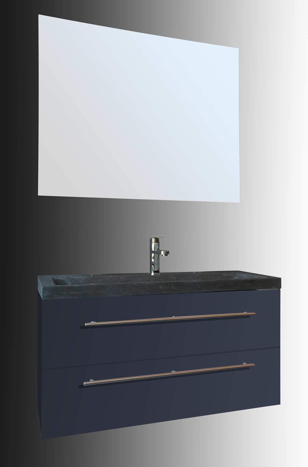 Lambini Designs Compact Stone badkamermeubel hoogglans antraciet 100cm, 1 kraangat