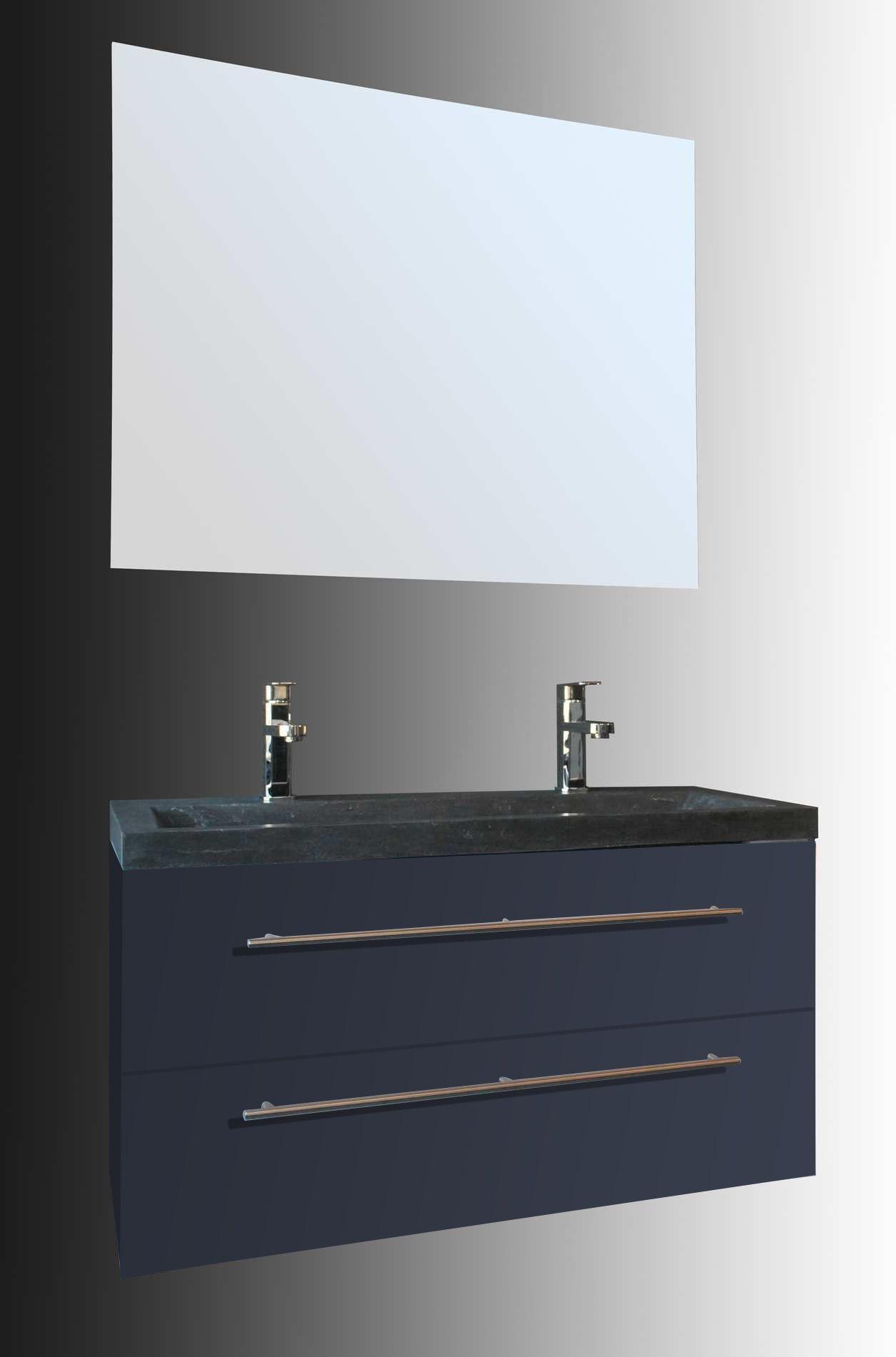 Lambini Designs Compact Stone badkamermeubel hoogglans antraciet 100cm, 2 kraangaten