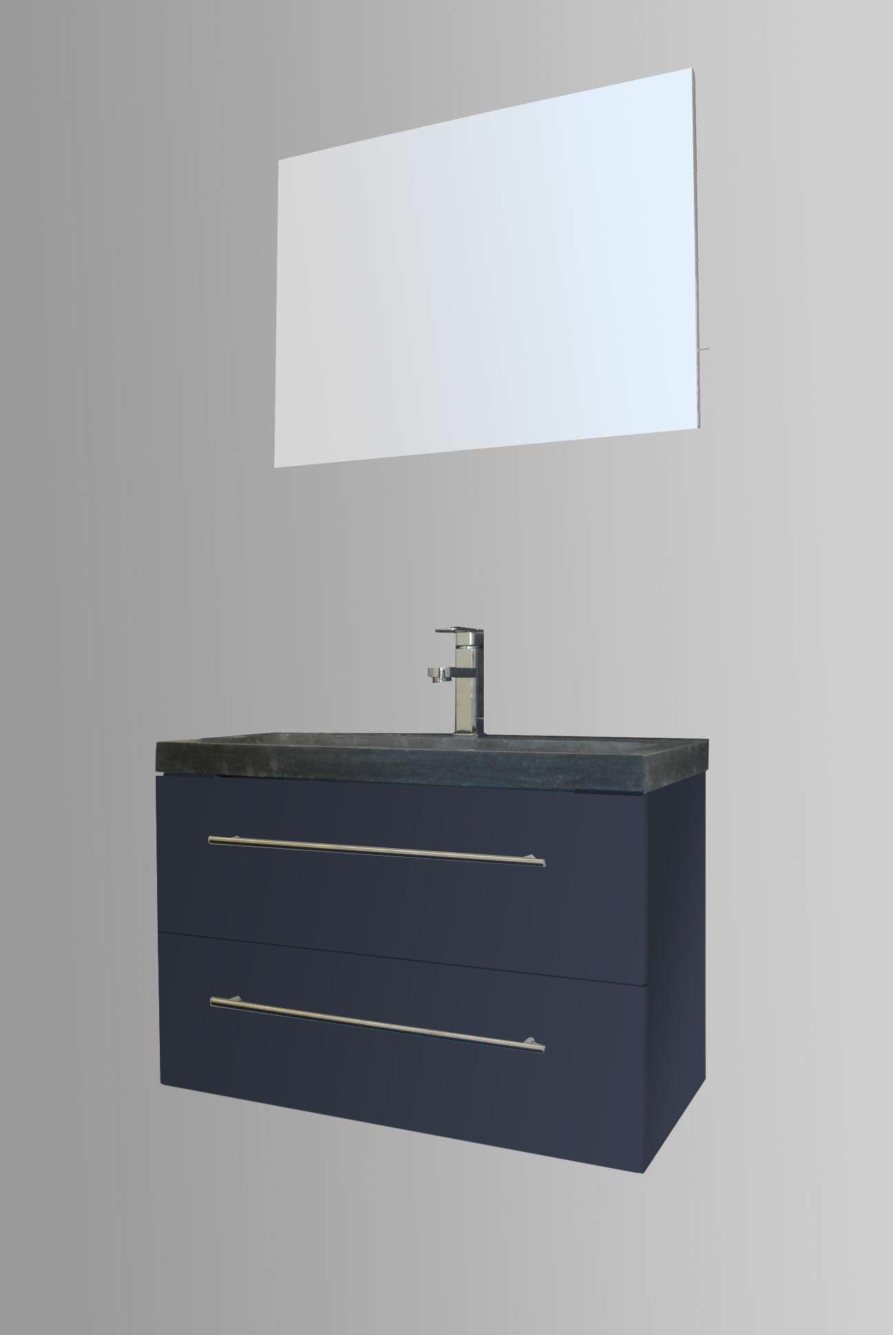 Lambini Designs Compact Stone badkamermeubel hoogglans antraciet 80cm