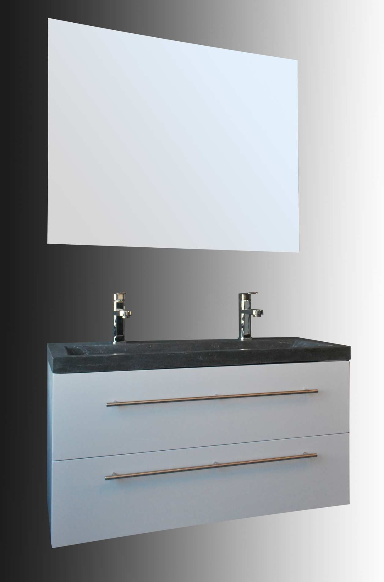 Lambini Designs Compact Stone badkamermeubel hoogglans wit 100cm, 2 kraangaten