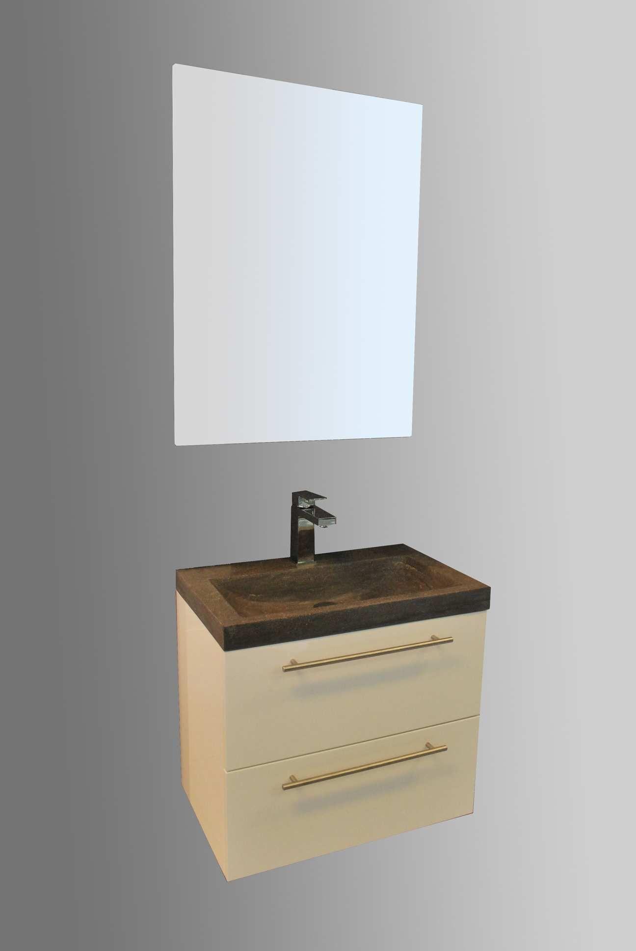 Lambini Designs Compact Stone badkamermeubel hoogglans wit 60cm