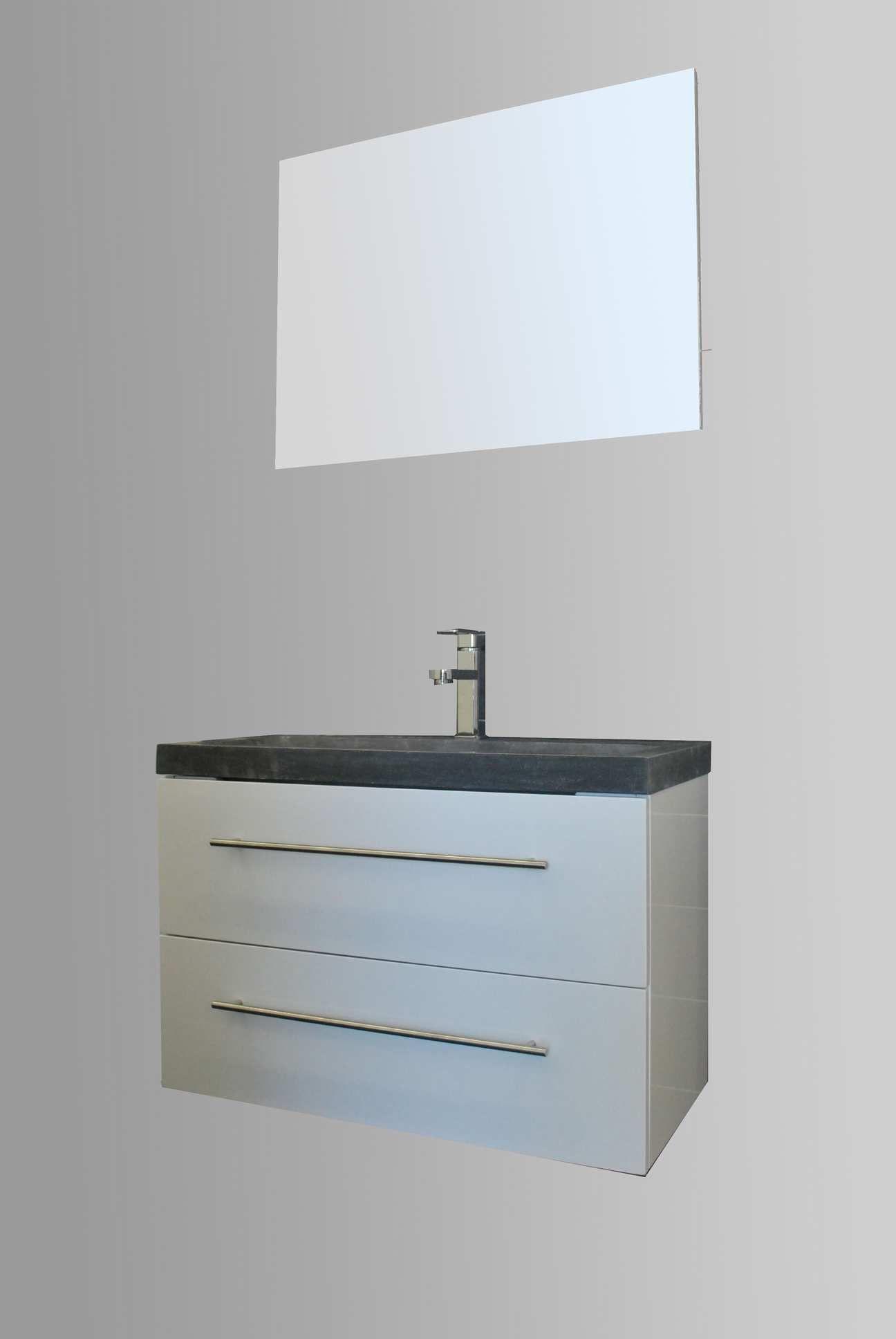 Lambini Designs Compact Stone badkamermeubel hoogglans wit 80cm