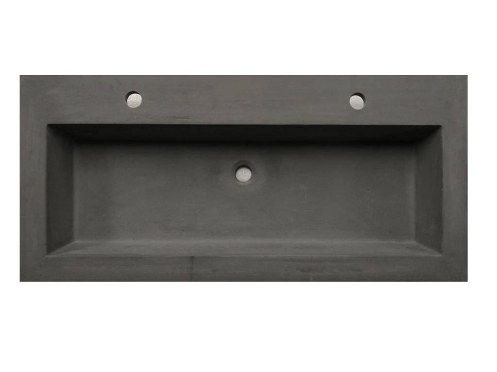 Lambini Designs Concrete meubelwastafel 100cm 2 kraangaten betongrijs