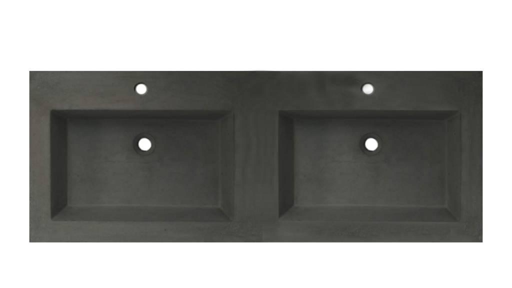 Lambini Designs Concrete meubelwastafel 120cm 2 kraangaten betongrijs