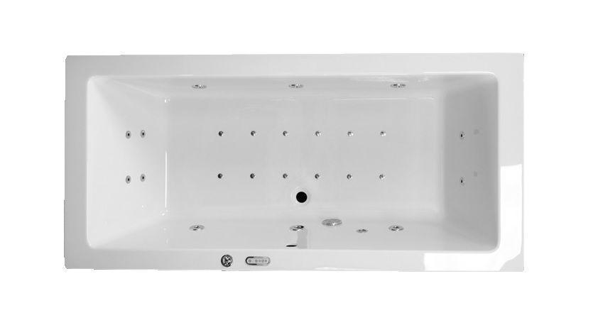 Productafbeelding van Lambini Designs Cube Bubbelbad 180x80cm LED verlichting, 6+4+2 hydro- en 12 aero jets. Elektronische bediening