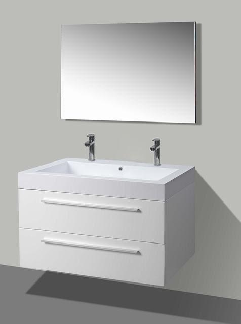Lambini Designs Hollywood badkamermeubel hoogglans wit 100cm, 2 kraangaten