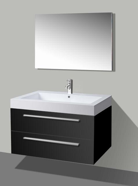Lambini Designs Hollywood badkamermeubel hoogglans zwart 100cm, 1 kraangat