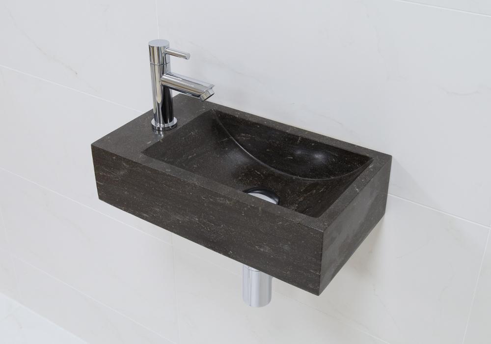 Lambini Designs Recto links natuursteen fonteinset met Chroom kraan en toebehoren