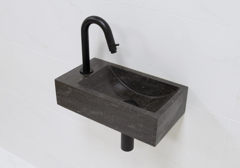 Lambini Designs Recto links natuursteen fonteinset met zwarte gebogen fonteinkraan en toebehoren