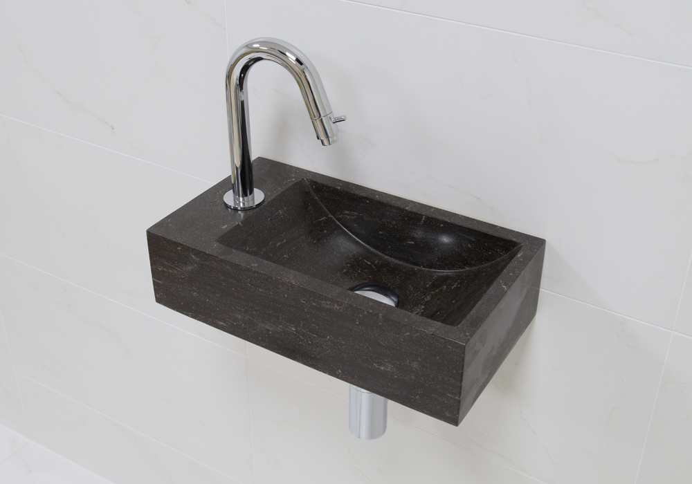 Lambini Designs Recto links natuursteen fonteinset met chroom gebogen fonteinkraan en toebehoren