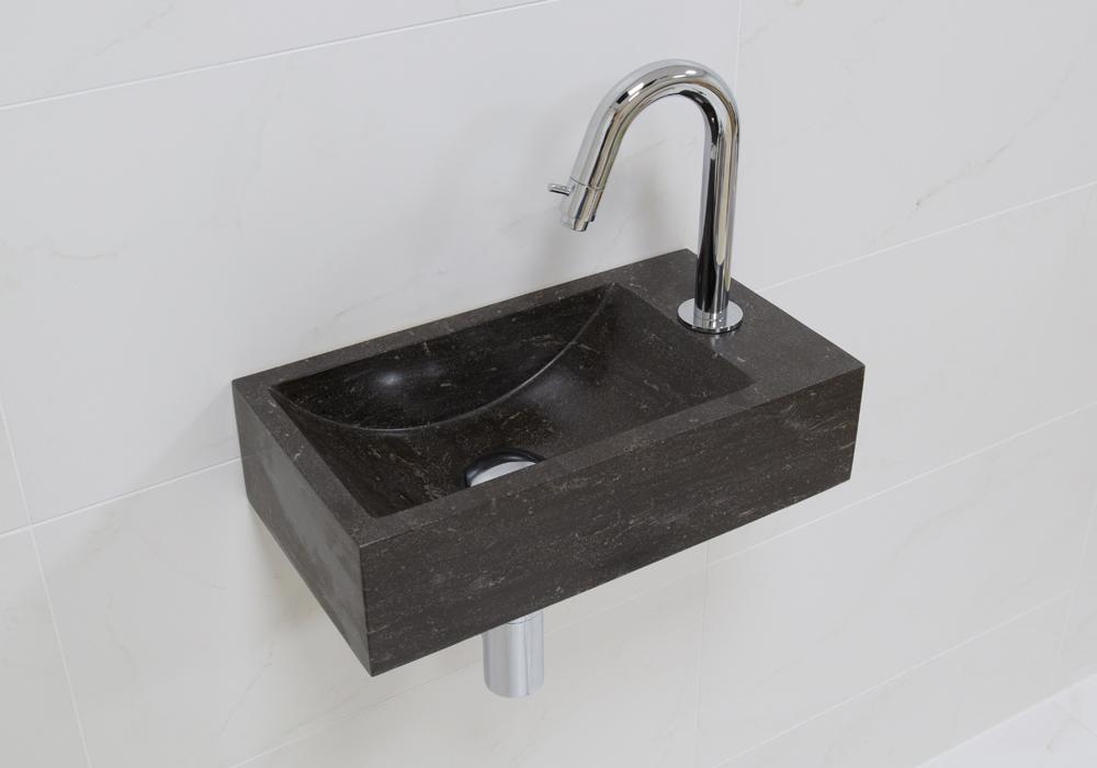 Lambini Designs Recto rechts natuursteen fonteinset met chroom gebogen fonteinkraan en toebehoren