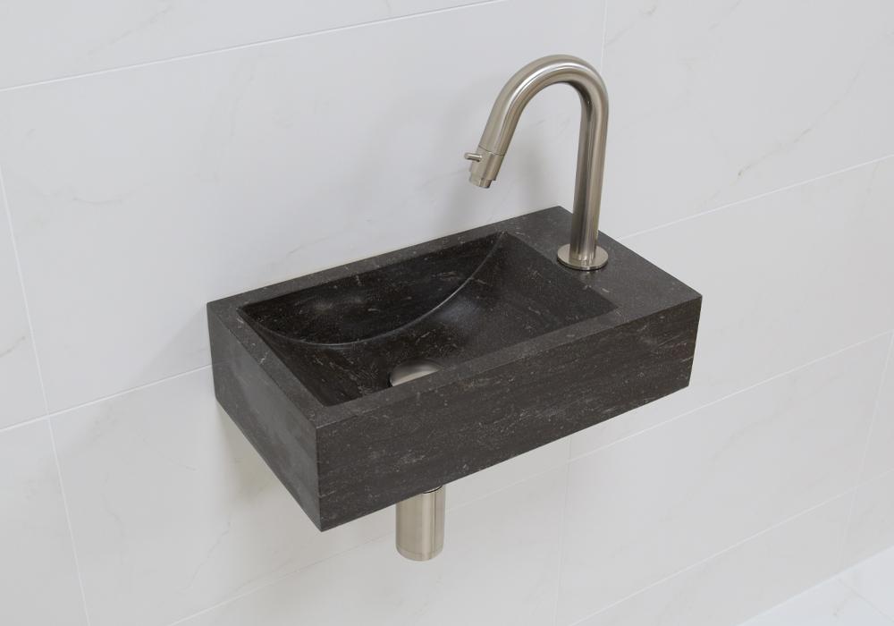 Lambini Designs Recto rechts natuursteen fonteinset met RVS gebogen fonteinkraan en toebehoren