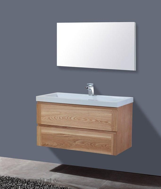 Lambini Designs Senza Wood badkamermeubel eiken 100cm, 1 kraangat