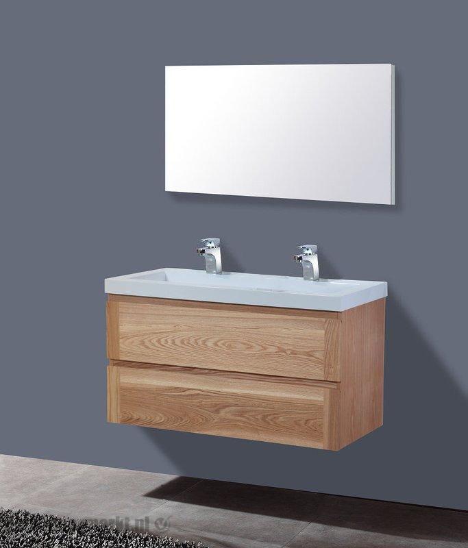 Lambini Designs Senza Wood badkamermeubel eiken 100cm, 2 kraangaten