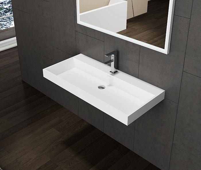 Lambini Designs solid surface wastafel met 2 kraangaten 100x47x8cm mat wit