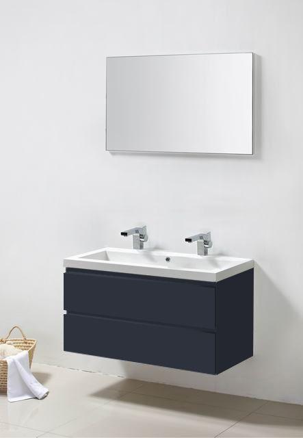 Lambini Designs Trend Line badkamermeubel hoogglans antraciet 100cm, 2 kraangaten