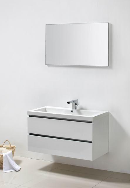 Lambini Designs Trend Line badkamermeubel hoogglans wit 100cm, 1 kraangat