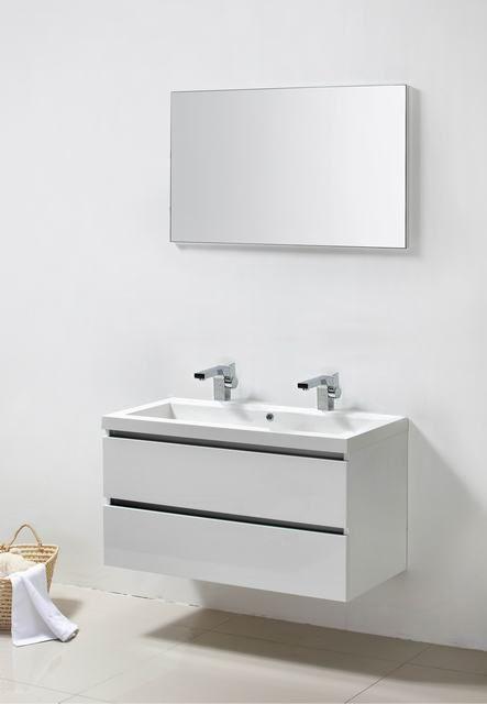 Lambini Designs Trend Line badkamermeubel hoogglans wit 100cm, 2 kraangaten