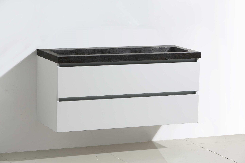 Lambini Designs Trend Stone badkamermeubel hoogglans wit 100cm, 0 kraangaten